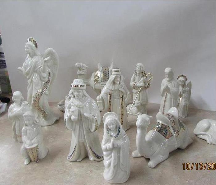 nativity set cleaned from soot